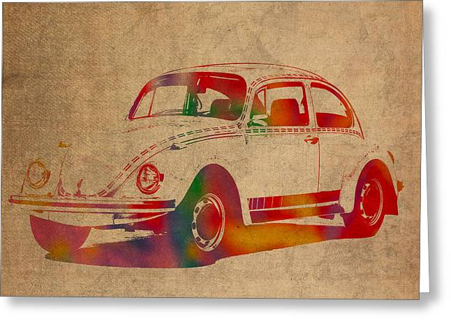Highway Greeting Cards - Volkswagen Beetle Vintage Watercolor Portrait on Worn Distressed Canvas Greeting Card by Design Turnpike