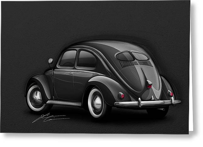 Beetle Greeting Cards - Volkswagen Beetle VW 1948 Black Greeting Card by Etienne Carignan