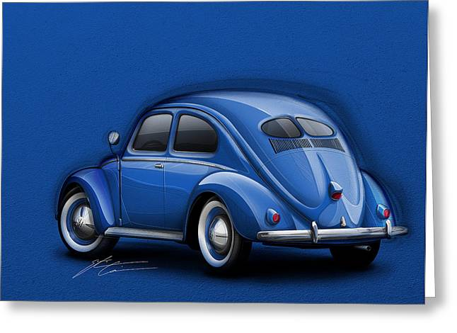 Blue Car. Greeting Cards - Volkswagen Beetle VW 1948 Blue Greeting Card by Etienne Carignan