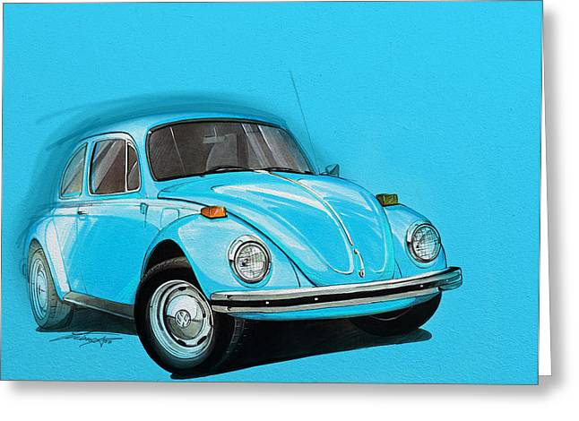 Yellow Submarine Greeting Cards - Volkswagen Beetle VW Blue Greeting Card by Etienne Carignan