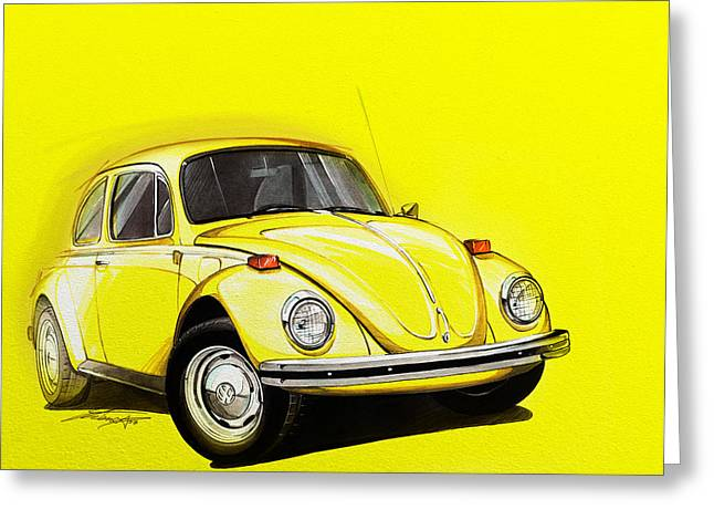 Beetle Greeting Cards - Volkswagen Beetle VW Yellow Greeting Card by Etienne Carignan