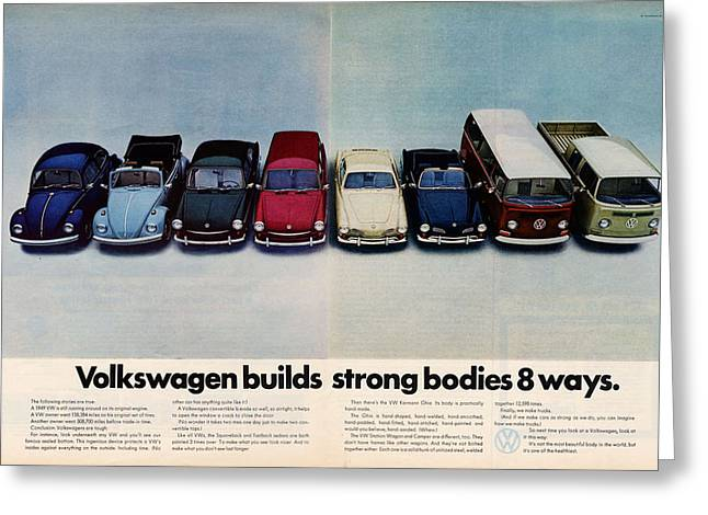 Drive In Style Greeting Cards - Volkswagen Builds Strong Bodies Eight Ways Greeting Card by Nomad Art And  Design