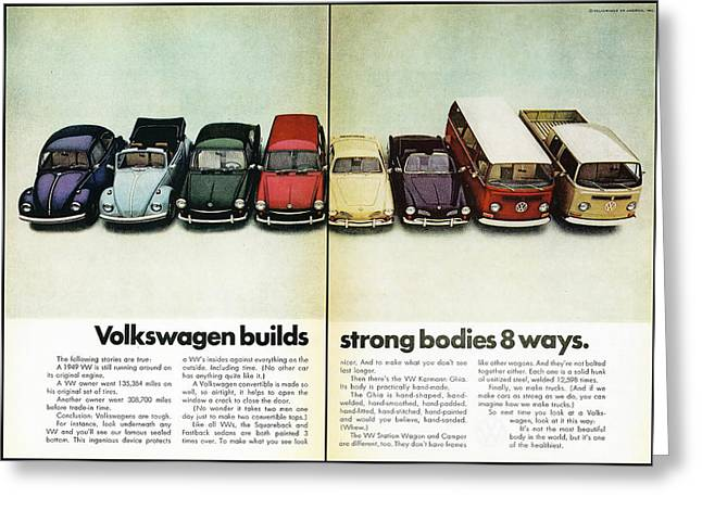 Drive In Style Greeting Cards - Volkswagen Builds Strong Bodies in 8 Ways Greeting Card by Nomad Art And  Design