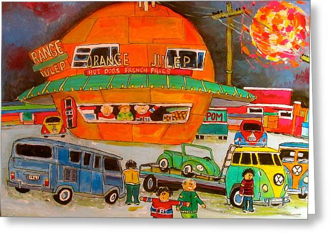 Orange Julep Greeting Cards - Volkswagen Orange Julep 1960 Greeting Card by Michael Litvack