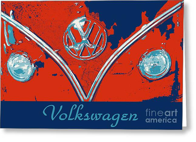 Surfer Art Greeting Cards - Volkswagen Pop art Greeting Card by Cheryl Young