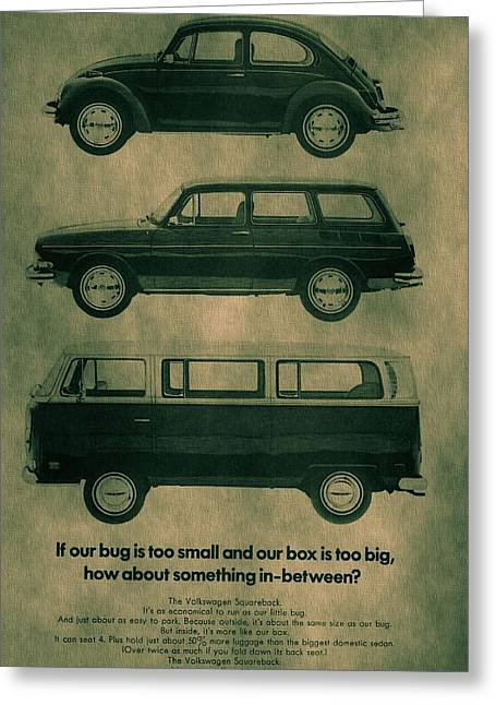 Vw Squareback Greeting Cards - Volkswagen Poster Greeting Card by Dan Sproul