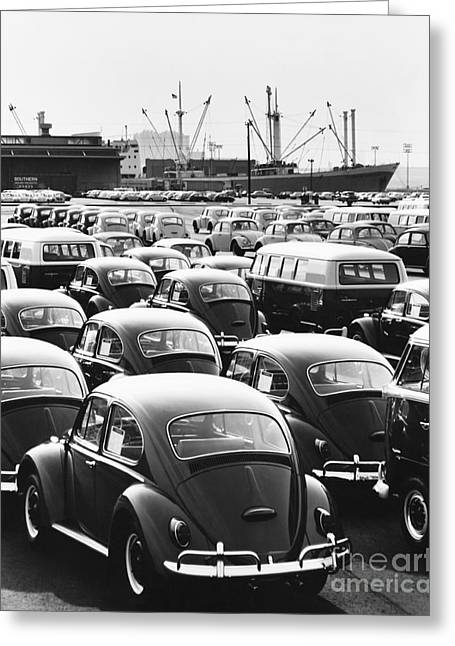 Vw Beetle Greeting Cards - Volkswagen Shipment Greeting Card by M E Warren