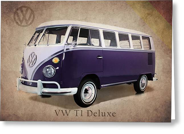 Beetle Car Greeting Cards - Volkswagen T1 Bus Greeting Card by Mark Rogan