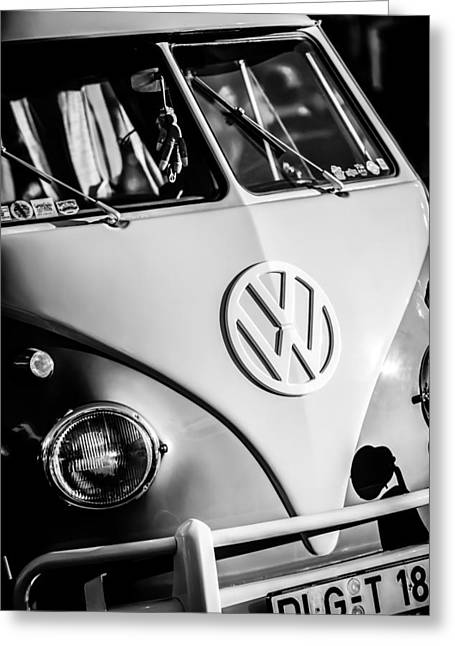 Famous Photographer Greeting Cards - Volkswagen VW Bus Emblem -1355bw Greeting Card by Jill Reger