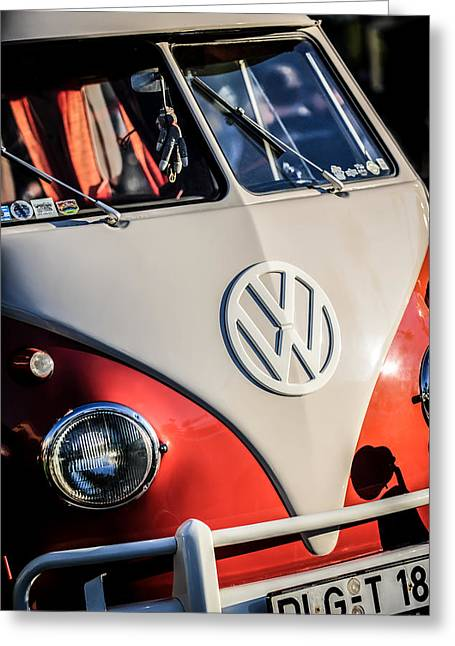Bus Print Greeting Cards - Volkswagen VW Bus Emblem -1355c Greeting Card by Jill Reger