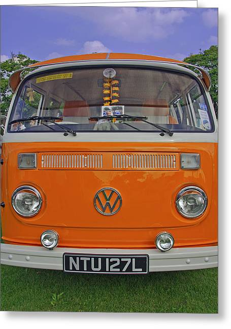 Tangerine Greeting Cards - Volkswagon Happy Camper Greeting Card by Paul Scoullar