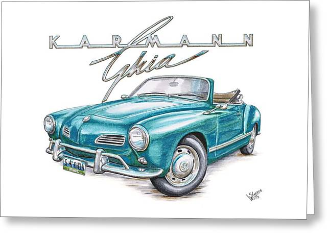 Volkswagon Greeting Cards - Volkswagon Karmann Ghia Greeting Card by Shannon Watts