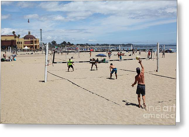 Santa Cruz Ca Photographs Greeting Cards - Volleyball At The Santa Cruz Beach Boardwalk California 5D23837 Greeting Card by Wingsdomain Art and Photography