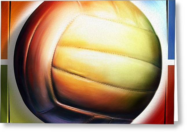 Johnson Mixed Media Greeting Cards - Volleyball Greeting Card by Shevon Johnson