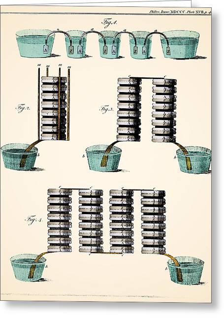 Voltas Crown Of Cups And Voltaic Piles Greeting Card by Wellcome Images