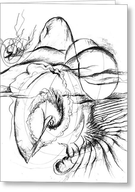 Surreal Landscape Drawings Greeting Cards - Voluminous Greeting Card by Jessica Snyder
