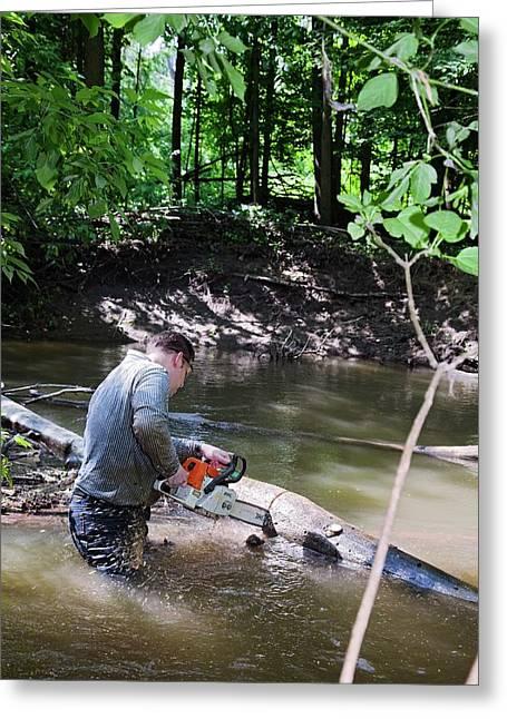 Volunteer Clearing Log Jam Greeting Card by Jim West