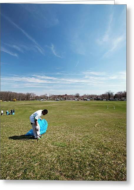 Volunteers Clearing Park Litter Greeting Card by Jim West