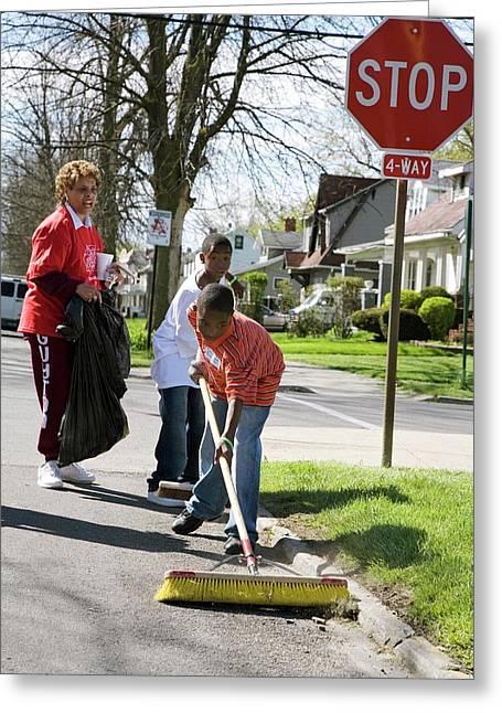 Volunteers Clearing Rubbish Greeting Card by Jim West