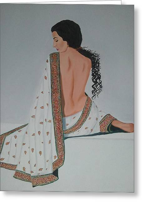 Sari Greeting Cards - Voluptuous Vidya Balan in White Sari Greeting Card by Pallavi Talra