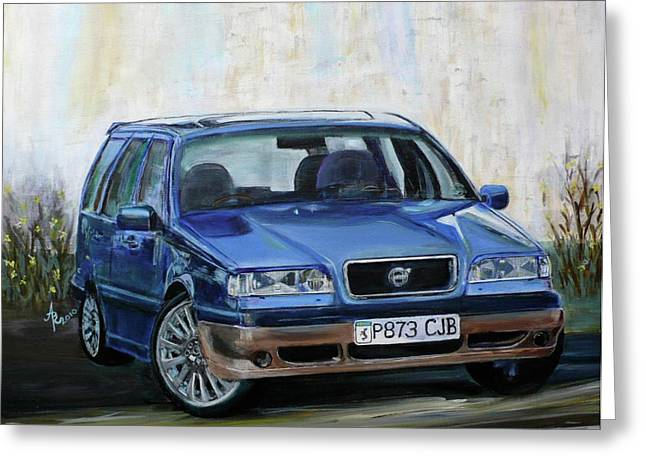 Steering Paintings Greeting Cards - Volvo Greeting Card by Anna Ruzsan
