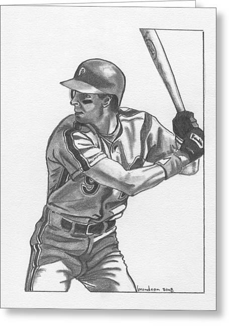 Phillies Drawings Greeting Cards - Von Hayes Greeting Card by Brian Condron