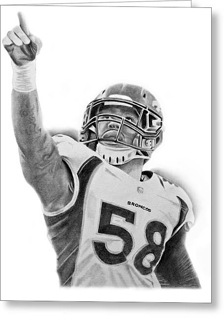 Recently Sold -  - Don Medina Greeting Cards - Von Miller Greeting Card by Don Medina