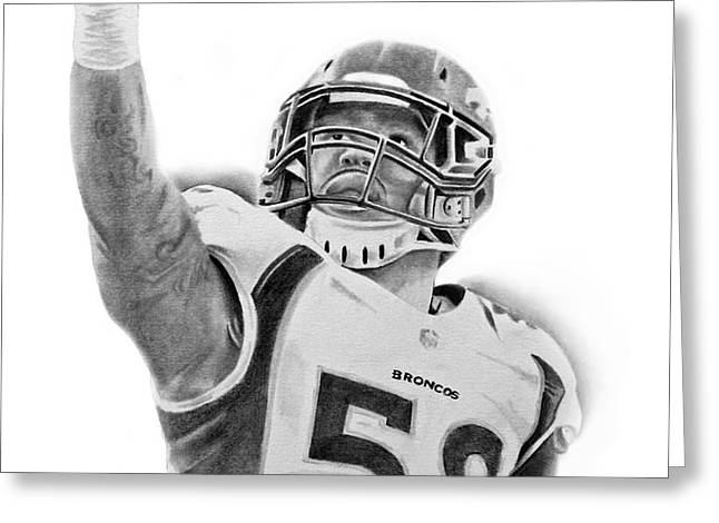 Von Miller Greeting Card by Don Medina