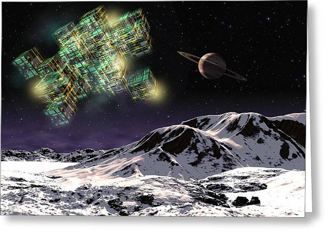 Surveying Greeting Cards - Von Neumann probe at planet, artwork Greeting Card by Science Photo Library