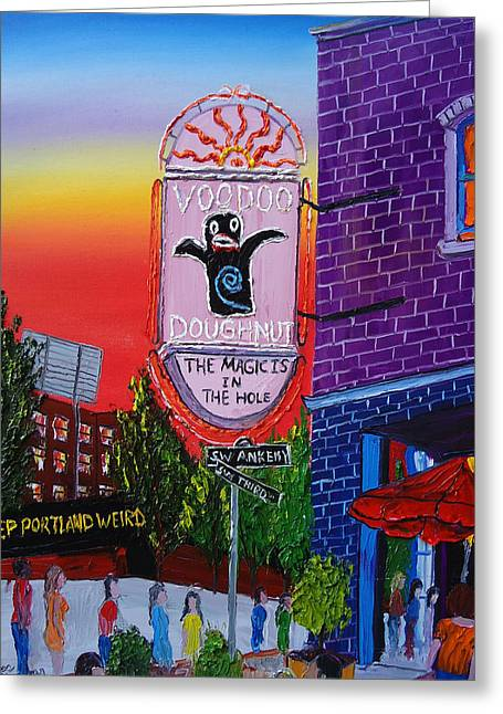 Voodoo Doughnut Sign 4 Greeting Card by Portland Art Creations