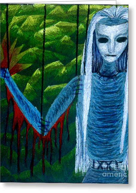 Stained Glass Pastels Greeting Cards - Voodoo II the Effects of Voodoo Greeting Card by Coriander  Shea
