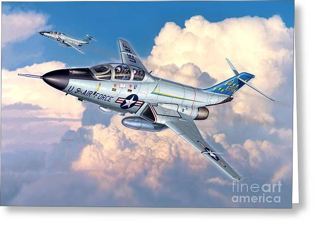 Interceptor Greeting Cards - Voodoo In The Clouds - F-101B Voodoo Greeting Card by Stu Shepherd