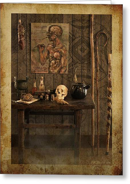 Vodou Greeting Cards - Voodoo Shack Greeting Card by Bill Jonas