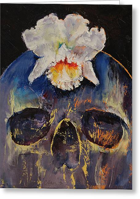 Dark Art Greeting Cards - Voodoo Skull Greeting Card by Michael Creese