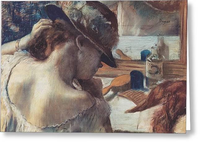 Spiegel Greeting Cards - Vor Dem Spiegel Greeting Card by Edgar Degas