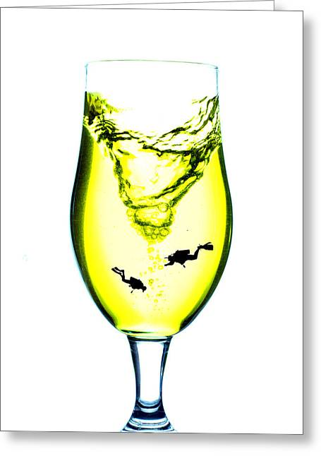 Wine Scene Greeting Cards - Vortex diving in the glass cup Little People On Food Greeting Card by Paul Ge