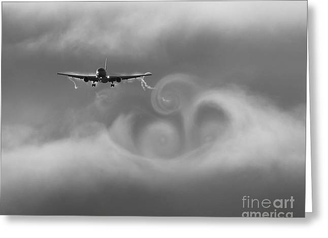 Airplane Landing Greeting Cards - Vortexes Greeting Card by Alex Esguerra