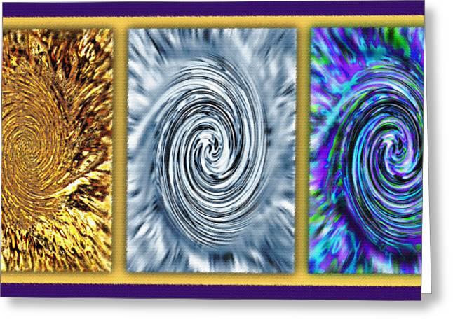 Dizzy Mixed Media Greeting Cards - Vortices Triptych Greeting Card by Steve Ohlsen