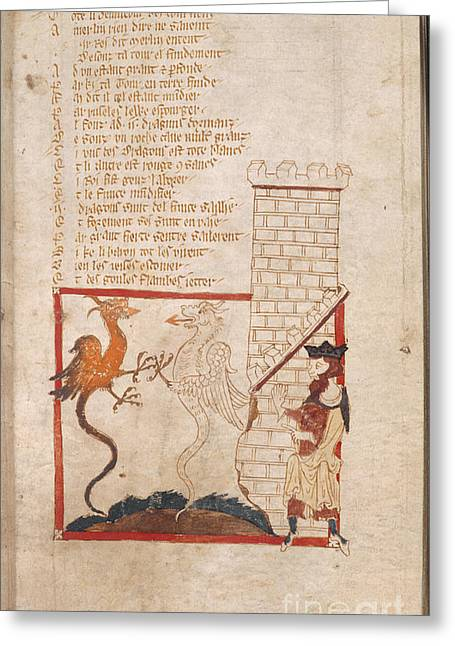 Dragon Concept Greeting Cards - Vortigern And Dragons Greeting Card by British Library