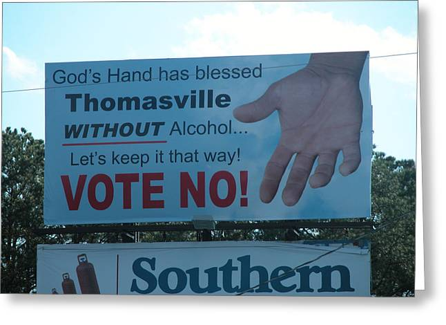 Thomasville Greeting Cards - Vote No Greeting Card by David Dittmann