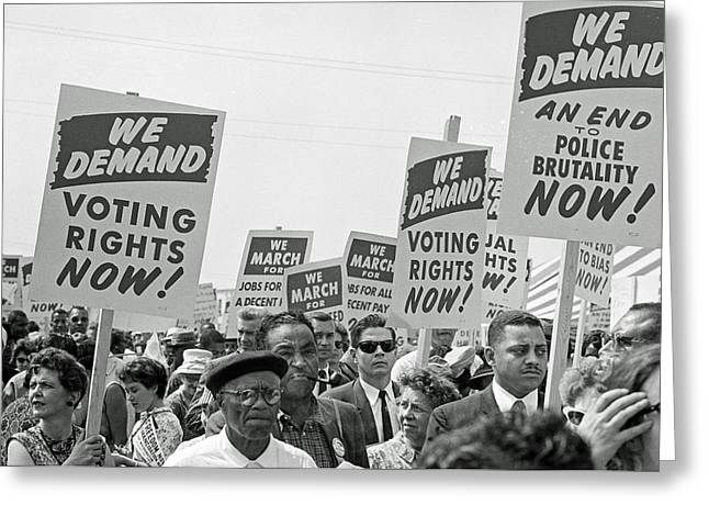 Voting Rights Greeting Cards - Voting Rights March in Washington DC 1963 Greeting Card by Mountain Dreams