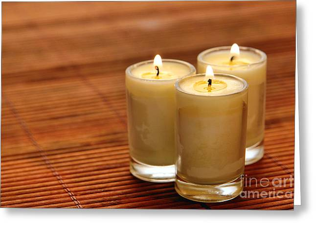 Wax Greeting Cards - Votive Candle Burning Greeting Card by Olivier Le Queinec