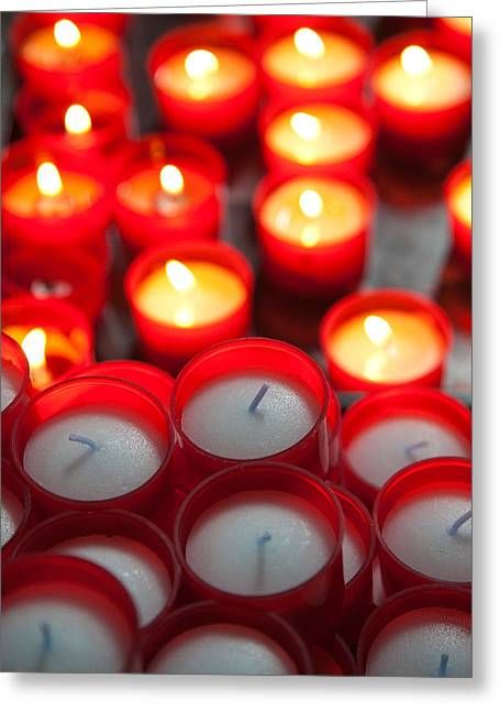 Votive Candles Greeting Cards - Votive Candles In A Cathedral, Como Greeting Card by Panoramic Images