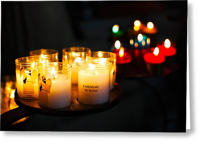 Votive Candles Greeting Cards - Votive Candles In A Cathedral, Reims Greeting Card by Panoramic Images