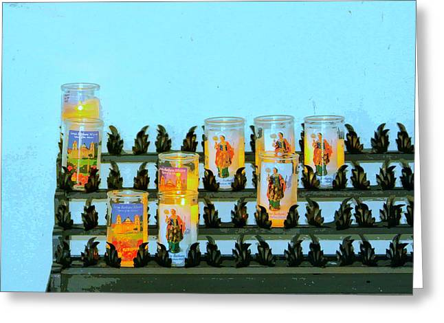 Votive Candles Greeting Cards - VOTIVES Santa Barbara Greeting Card by William Dey