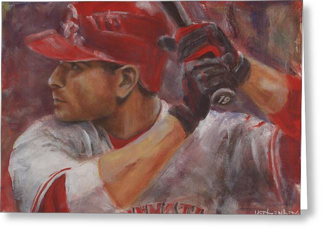 Player Greeting Cards - Votto Greeting Card by Josh Hertzenberg