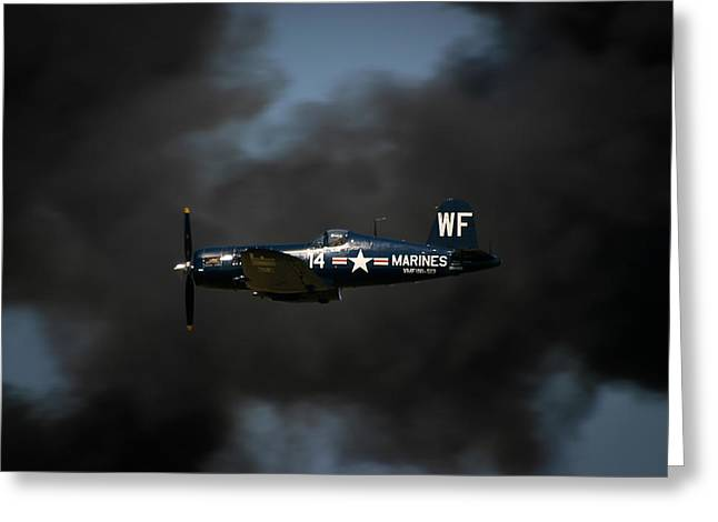 Air Shows Greeting Cards - Vought F4U Corsair Greeting Card by Adam Romanowicz