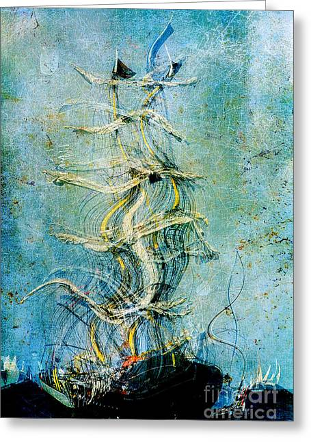 Abstract Realism Digital Greeting Cards - Voyage dEau 04at2b- Sea Boat Collection Greeting Card by Variance Collections