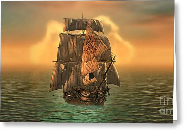 Sailing Ship Greeting Cards - Voyage Greeting Card by Mo T