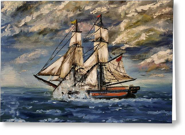 Wooden Ship Paintings Greeting Cards - Voyage of the Cloud Chaser Greeting Card by Lady I F Abbie Shores
